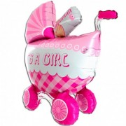 Balon foliowy It's a Girl - Wózek 3D 107 cm