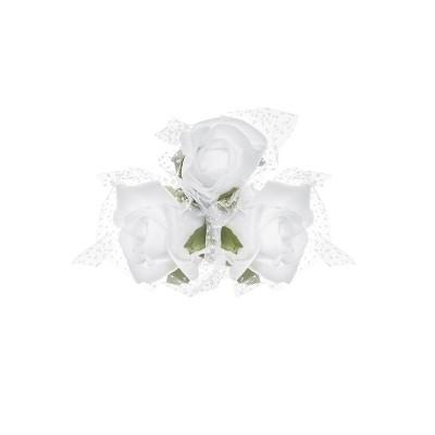 Bukieciki na przyssawkach, biały, 10cm zestaw 4 sztuki