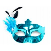 Maska Party z piórkiem, turkus