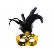 Maska Party z piórkiem, złoty