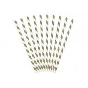 Słomki papierowe, złoty, 19,5cm, zestaw 10 sztuk
