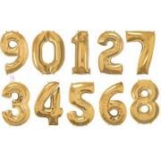 Balony foliowe cyfry złote 40 cali, 95 centymetrów
