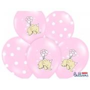 Balony z nadrukim Słonik i Kropki różowe
