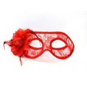 Maska Party czerwona koronkowa z różą
