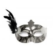 Maska Party z piórkiem srebrna