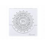 Zaproszenia komunijne ze srebrnym ornamentem zestaw 10 sztuk