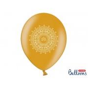 Balony komunijne złote z nadrukiem IHS z ornamentem